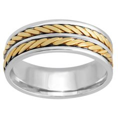 14k Two-tone Gold Handmade Double Twist Comfort-fit Wedding Band (Size 7.5), Women's, Silver (solid)