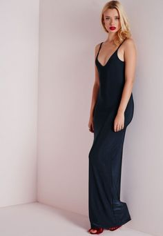 Slinky Cowl Back Maxi Dress Navy - Dresses - Maxi Dresses - Missguided