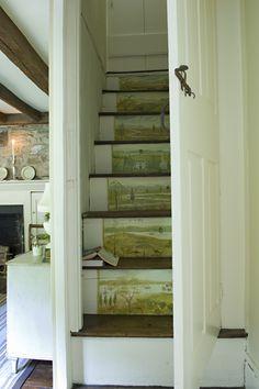 Cute idea for a back stairwell.  Cathy Kincaid Interiors