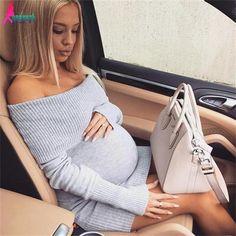 Gagaopt 2016 Winter Off Shoulder Knitted Maternity Dress Slash Neck Longsleeve…