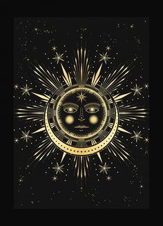 Sun Moon Affair art print in gold foil and black paper with stars and moon by Cocorrina Brust Tattoo, Sun Moon Stars, Sun And Stars, Sun Art, Black Paper, Macabre, Occult, Tarot, Artsy