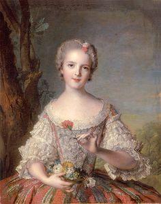 A portrait of Madame Louise de France by Jean-Marc Nattier, 1748.