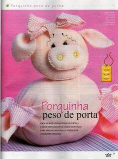 Amor em dobras S2: Porquinha de Feltro ( Peso de Porta)