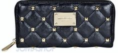 $100.00 Michael Kors Studded Quilted Continental Wallet in Black + FREE GIFT