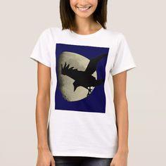 Raven Flying Across The Moon T-Shirt #halloween #holiday #creepyhollow #women #womensclothing