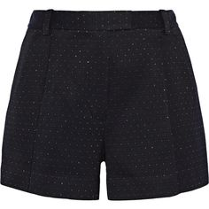 3.1 Phillip Lim - Metallic Woven Shorts ($140) ❤ liked on Polyvore featuring shorts, midnight blue, woven shorts, loose fitting shorts, mid rise shorts, metallic shorts and pleated shorts