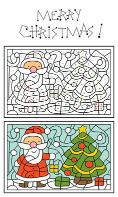 Illustration about Christmas coloring page for kids, Santa Claus and christmas tree. Illustration of book, education, clipart - 21591058 Preschool Christmas, Noel Christmas, Christmas Activities, Christmas Crafts For Kids, Christmas Colors, Winter Christmas, Holiday Crafts, Christmas Worksheets, Christmas Printables