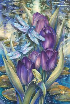 Bergsma Gallery Press :: Paintings :: New Images 2014 :: Simply Enchanted - Prints Et Wallpaper, Watercolor Paintings, Original Paintings, Tattoo Watercolor, Decoupage, Lotus Image, Dragonfly Art, Dragonfly Tattoo, Dragonfly Painting