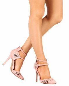 Fashion Bug Women Suede Buckle Cut Out Pointy Toe Pump - Salmon. www.fashionbug.us #FashionBug
