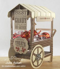 Create With Me: I made this cute candy cart using a template, Lovely Cart, from Creations by AR.  I used stamps from Candy Wagon by Waltzingmouse for the signs.