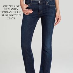 "CITIZENS OF HUMANITY SLIM BOOTCUT JEANS Citizens of Humanity 'Emmanuelle' Slim Bootcut Jeans. These mid-rise, easy to style jeans feature zip fly with button closure, 5 pockets, signature stitch on rear pockets finished with silver and copper hardware. Material: Cotton/Tencel lyocell/Polyurethane. Approx Measurements: Rise: 8.25"", Leg Opening:  18"", Inseam: 34.5"". Tailoring jeans is actually VERY easy if you ever need to adjust length. Color: ELEMENT. Size 27. Condition: Excellent Citizens…"