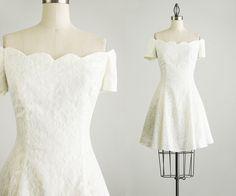 90s Vintage White Lace Off Shoulder Mini Dress / Size by decades, $78.00