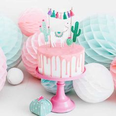 Llama And Cactus Cake Toppers Decoration Set - Shopkins Party Ideas Kaktus Cupcakes, Cactus Cake, Bolo Cake, Llama Birthday, Pistachio Cake, Cake Decorating Supplies, Paper Cake, Partys, Girl Cakes