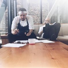 Executive Chef Christian and Chef De Cuisine Jeffrey in the early stages of creating new menu items.