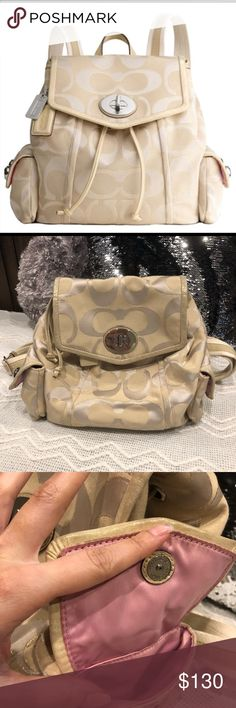 0dc433f39 Coach Poppy Drawstring Backpack Purse (Gold/Khaki) This is a tough one to