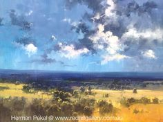 "Herman Pekel Impressionist Oil Painting ""Distant Showers"" 152x120cm Red Hill Gallery, Brisbane. redhillgallery.com.au"