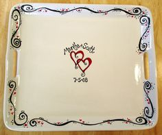Skip the guest book and make a great signature platter! We also sell ceramic over glaze pens that will be permanent and food safe after your guests have signed the platter! Pottery Painting Designs, Pottery Designs, Paint Designs, Painted Ceramic Plates, Ceramic Painting, Ceramic Pottery, Porcelain Pens, Sharpie Art, Sharpies