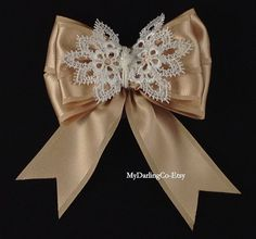 Champagne Satin & Venice Lace Bow with Gorgeous Knotted Center with your choice of an Alligator Clip or French Barrette with Long or Short