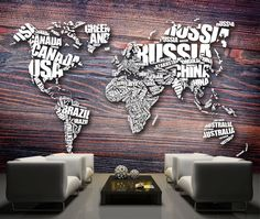 World map made from words. Maps, Lettering, Words, Home Decor, Furniture, Australia, Decoration Home, Room Decor, Drawing Letters