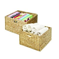 This beautiful hand-woven Seville Classics Water Hyacinth Storage Baskets will serve as the focal centerpiece of any bedroom, closet, restroom, laundry room, kitchen or living room. Each water Linen Closet Organization, Organization Hacks, Organizing Tips, Bathroom Organization, Bathroom Ideas, Cube Storage Baskets, Storage Ideas, Easy Storage, Storage Bins