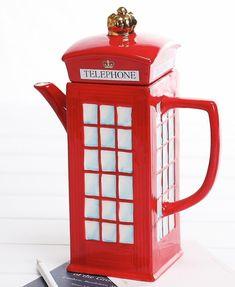 Claybox UK Themed London Telephone Booth Ceramic Teapot, 21 Ounces by Claybox, London Telephone Booth, London Phone Booth, British Decor, Cute Teapot, Pub Design, Teapots Unique, Teapots And Cups, Tea Art, Ceramic Teapots