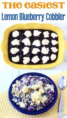 Lemon Blueberry Desserts!  This easy cobbler is bursting with the flavors of summer, and perfect to make for any occasion.  Go check it out! Lemon Blueberry Dump Cake Recipe, Lemon Blueberry Cheesecake, Blueberry Dump Cakes, Blueberry Desserts, Lemon Desserts, Homemade Desserts, Easy Desserts, Spice Dump Cake Recipe, Dump Cake Recipes