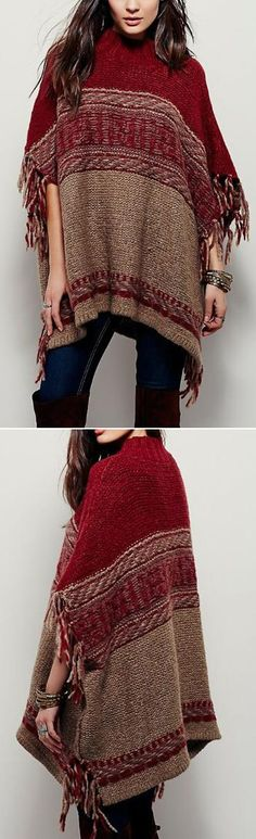 We wanna loose style in the fall.Love this Tassel Sweater Cape. So cute. It will never let you down.Only $43.09&Free Shipping!Get more heated pieces at Romoti.com