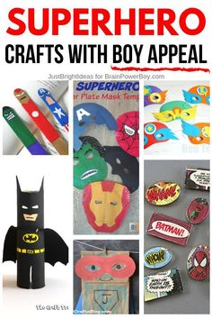 Superhero Crafts for Boys Looking for crafts your boys will actually want to do? Try these superhero crafts for boys. Superheroes are always popular and these crafts are awesome! Includes Batman crafts, Avengers crafts, Marvel crafts, DC Comics crafts and Arts And Crafts For Adults, Easy Arts And Crafts, Fathers Day Crafts, Fun Crafts For Kids, Toddler Crafts, Batman Crafts, Avengers Crafts, Big Kids, Dc Comics