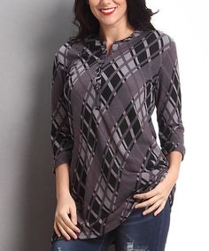 This Charcoal Diamond Plaid Button-Front Tunic - Plus is perfect! #zulilyfinds