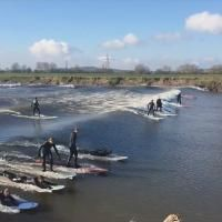Surfers gathered on the River Severn in England to take advantage of a strong tidal surge. Known as the Servern Bore, it's one of the strongest tidal surges in the world. Matt Sampson has more.