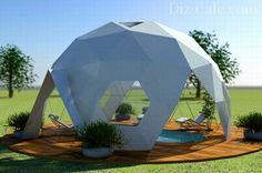 Купольный шатер над летним бассейном