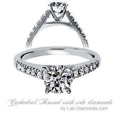 Cathedral Round Cut Center Stone with Side Diamonds - Cathedral High Rise with Side Diamonds - Engagement Rings