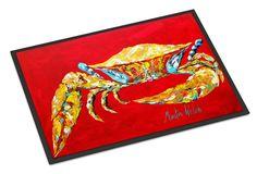 Crab Blue on Red, Sr. Indoor or Outdoor Mat 18x27 Doormat