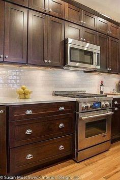 New kitchen remodel dark cabinets wood countertops ideas Backsplash With Dark Cabinets, Dark Wood Cabinets, Best Kitchen Cabinets, White Countertops, Kitchen Backsplash, Kitchen Countertops, Dark Counters, Backsplash Ideas, Shaker Cabinets