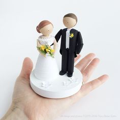 Wedding cake topper, handmade cake topper, bride and groom, unique wedding decor, unique wedding gift
