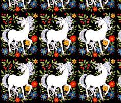 vintage retro kitsch unicorns fantasy myths mythical mythology flowers leaf leaves folk fairy tales fabric by raveneve on Spoonflower - custom fabric