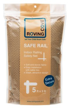 Roving Cove Safe Rail - 5ft x 3ft - INDOOR Balcony and Stairway Railing Safety Net - ALMOND color - Banister Stair Net - Child Safety; Pet Safety; Toy Safety; Stairs Protector