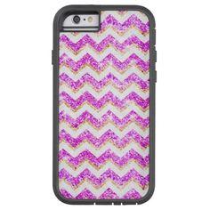 Chevron Pattern Girly Gold Purple Glitter photo iPhone 6 Case
