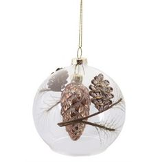"3.5"" Luxury Lodge Rustic Woodland Pine Cone & Branch Filled Clear Glass Ball Christmas Ornament"