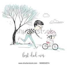 Little girl learns riding a bike with her father on the park
