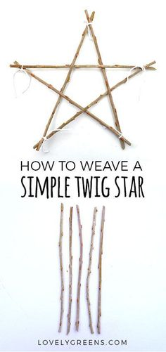 How to weave a Simple Twig Star -- great idea for simple Christmas decorations How to make a natural twig star using pieces of sticks and string. This simple and festive nature craft is quick and easy enough for kids to do Natural Christmas Ornaments, Diy Christmas Star, Homemade Christmas, Simple Christmas Crafts, Christmas Branches, Christmas Cactus, Simple Crafts, Christmas Makes, Christmas Music