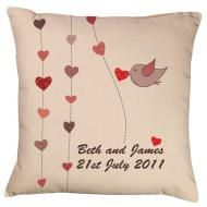 Hearts & Bird Wedding Cushion