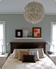 Benjamin Moore Sea Haze paint - blue/gray Bedroom color, love shelf over bed too. Benjamin Moore Beach Glass, Sea Haze Benjamin Moore, Home Bedroom, Bedroom Decor, Bedrooms, Bedroom Apartment, Bedroom Wall, Apartment Therapy, Bedroom Ideas
