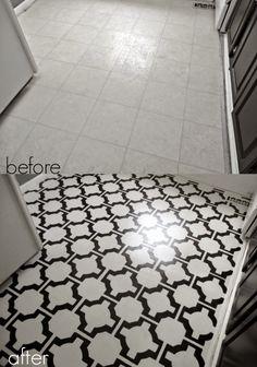 "DIY Painted Vinyl Floors: Turn gross, dated sheet vinyl into durable, stunning ""tile"" fo. Painting Laminate Floors, Painted Vinyl Floors, Vinyl Tiles, Painting Linoleum, Painting Tiles, Laminate Flooring, Diy Flooring, Bathroom Flooring, Kitchen Flooring"