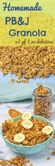 Get this Homemade PB&J Granola with only 5 ingredients and made in only 2 easy steps. With gf oats, peanuts, peanut butter, and strawberry jam. Of course it's vegan and totally gluten free. #vegan #glutenfree #breakfast #snack #homemade #recipe
