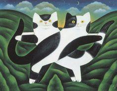 Winsor et Newton, Martin Leman, Antique / Vintage estampes, chats noir et blanc