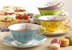 We love English Bone China by Sara Smith's new collection of tea cups and saucers. Vintage-inspired, in mouthwatering colours, and big enough for a proper cuppa. By the way, bone china is also incredibly strong, so you can use them everyday…www.sarasmith.co.uk
