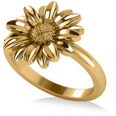 Allurez Plain Metal Daisy Flower Fashion Ring 14k Yellow Gold (720 AUD) ❤ liked on Polyvore featuring jewelry, rings, gold jewellery, daisy flower ring, flower jewellery, yellow gold rings and gold daisy ring