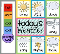 FREEBIE for tracking the daily Weather. I would use this within my preschool classroom. I especially like the visual for the cold to hot. Preschool Weather Chart, Weather Worksheets, Weather Activities, Preschool Learning Activities, Preschool Classroom, Weather Charts, Preschool Charts, Teaching Weather, Circle Time Activities