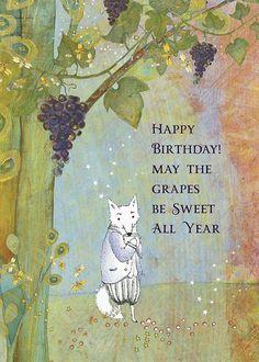 Sacredbee Greeting Cards for those who love art and books by Pamela Zagarenski Belated Birthday Greetings, Happy Birthday Wishes Cards, Birthday Pictures, Birthday Images, Happy Birthday Illustration, Bee Cards, It's Your Birthday, Birthday Blast, Birthday Club